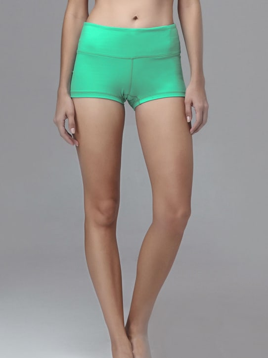 Green Elastic Sports Shorts