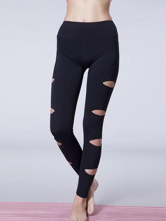 Black Cut Out Elastic Sports Leggings