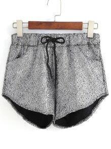 Drawstring Silver Shorts