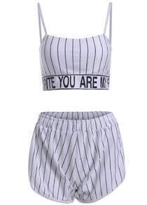 Spaghetti Strap Letter Print Top With Vertical Striped White Shorts