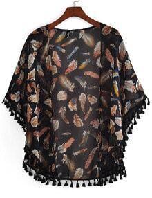 With Tassel Feather Print Chiffon Kimono