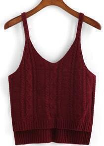 Spaghetti Strap Dip Hem Knit Wine Red Cami Top