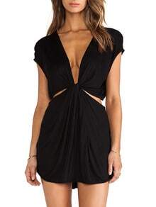 Black Cap Sleeve Deep V Neck Dress