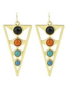 Gold Plated Long Beads Women Triangle Earrings
