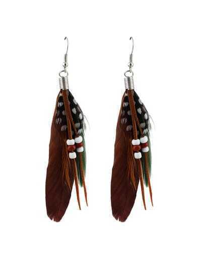 Coffee Long Feather Earrings