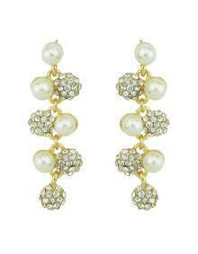 Imitation Pearl Rhinestone Leaf Long White Earrings Woman