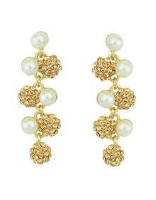 Imitation Pearl Rhinestone Leaf Long Pink Earrings Woman