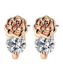 Rosegold Alloy Flower Shaped Imitation CZ Crystal Stud Earrings Woman