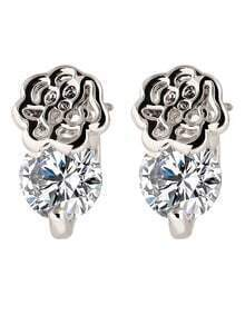 Silver Alloy Flower Shaped Imitation CZ Crystal Stud Earrings Woman