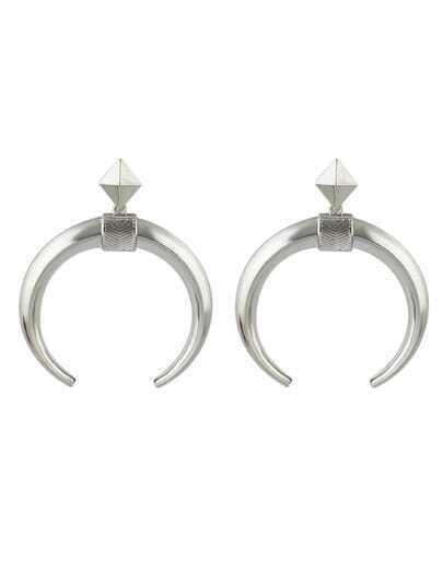 Silver Plated Stud Moon Earrings