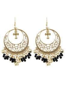 Black Ethnic Style Beads Tassel Large Chandelier Earrings