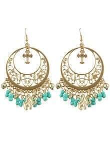Blue Ethnic Style Beads Tassel Large Chandelier Earrings