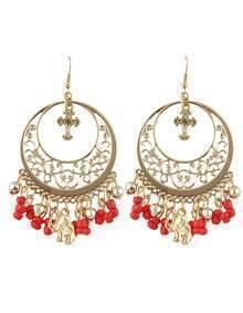 Red Ethnic Style Beads Tassel Large Chandelier Earrings