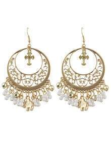 White Ethnic Style Beads Tassel Large Chandelier Earrings
