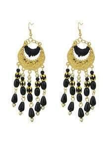 Black Bohemian Style Long Chandelier Beads Earrings