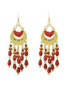 Red Bohemian Style Long Chandelier Beads Earrings