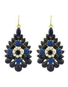 Blue Rhinestone Flower Big Drop Earrings