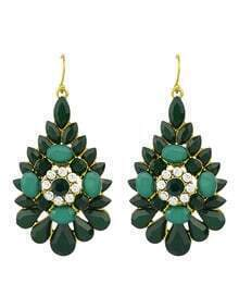 Green Rhinestone Flower Big Drop Earrings