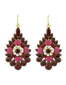 Red Rhinestone Flower Big Drop Earrings