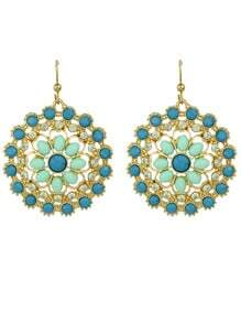 Bohemian Style Multicolors Gemstone Big Round Drop Earrings