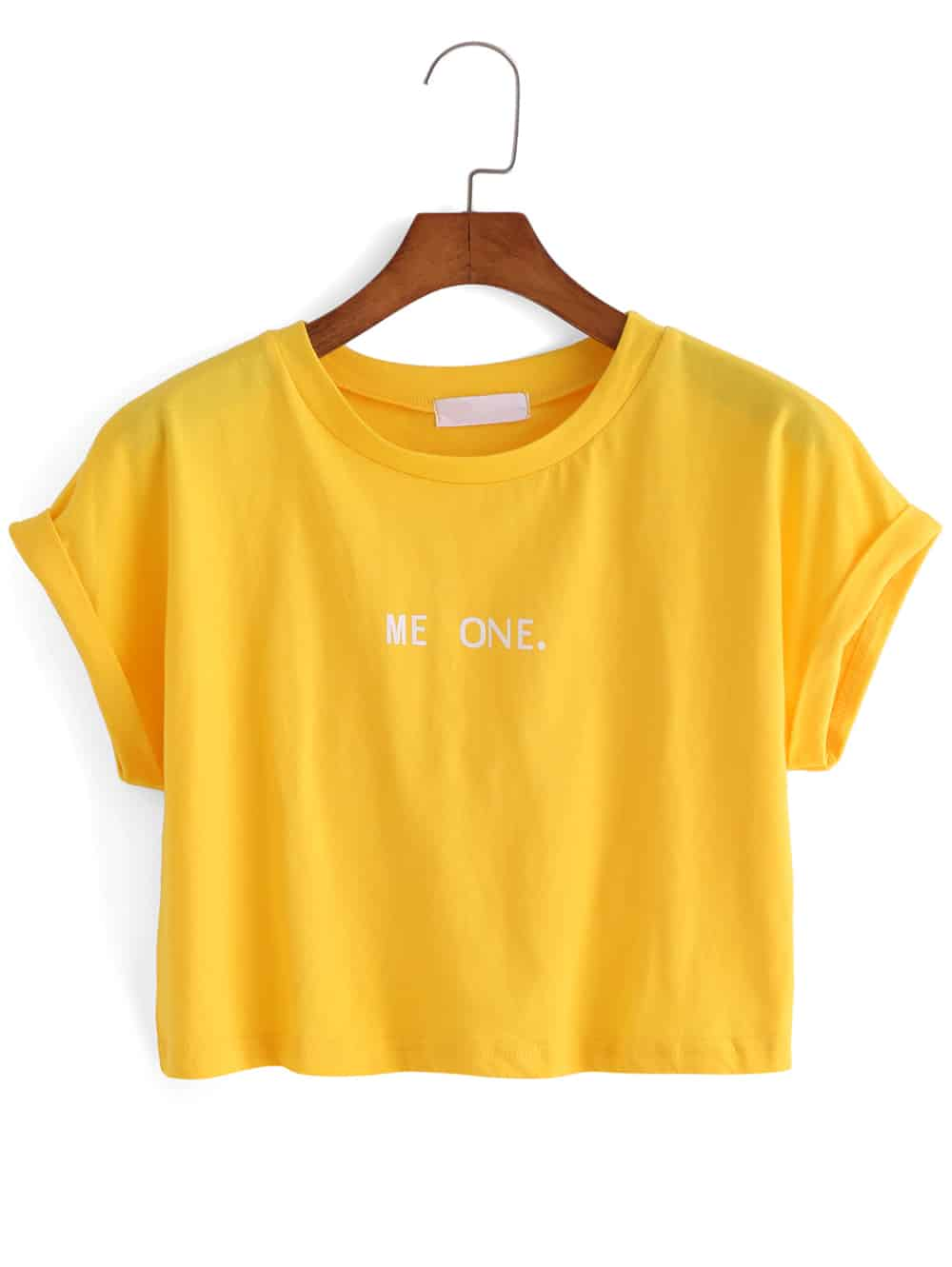 letter print crop yellow t shirt shein sheinside. Black Bedroom Furniture Sets. Home Design Ideas