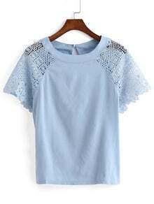 Lace Insert Hollow Blue Top