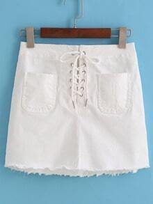 Bandage Pockets Fringe White Skirt