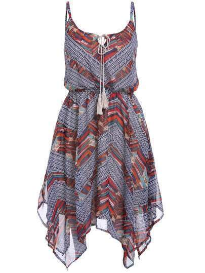 Spaghetti Strap Geometric Print Chiffon Asymmetrical Dress