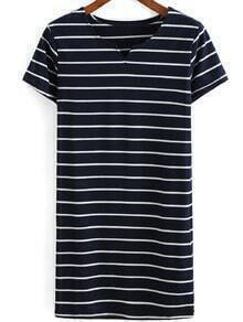 V Neck Striped Navy Dress