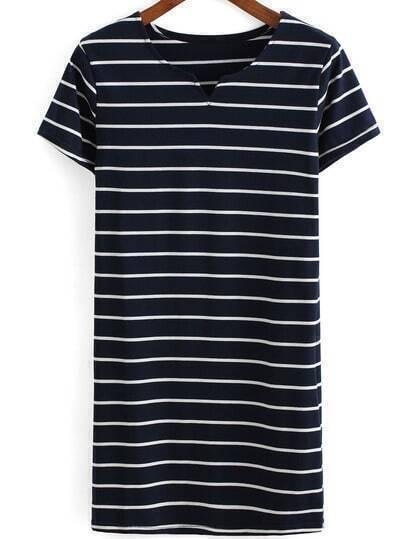 V Neck Striped Navy Dress