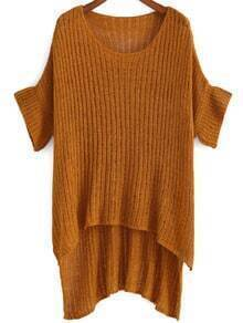 Round Neck Dip Hem Knit Yellow Sweater