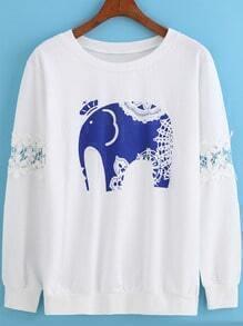 White Round Neck Lace Elephant Print Sweatshirt