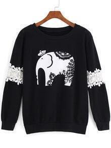 Black Round Neck Lace Elephant Print Sweatshirt