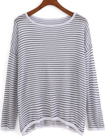 Black White Round Neck Striped Loose Knit Sweater