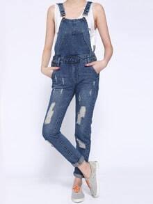 Blue Strap Ripped Pockets Denim Jumpsuit