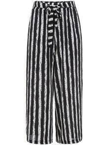Black White Tie-waist Vertical Stripe Crop Pant
