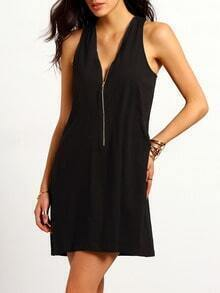 Black Sleeveless V Neck Zipper Dress