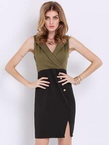 Army Green Sleeveless Color Block Split Dress