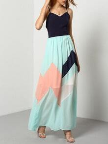 Multicolor Pastel Spaghetti Strap Backless Maxi Dress