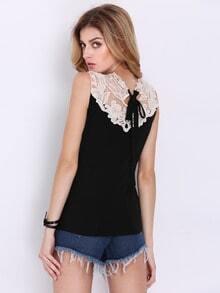 Black Sleeveless Contrast Crochet Lace Top
