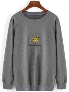 Grey Round Neck Banana Embroidered Loose Sweatshirt