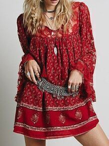 Red Bell Sleeve Lace Floral Loose Dress