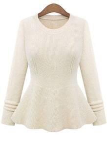 Beige Round Neck Ruffle Knit Sweater