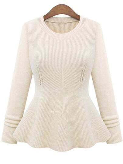 Beige Round Neck Ruffle Knit Sweater