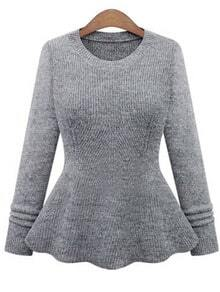 Grey Round Neck Ruffle Knit Sweater