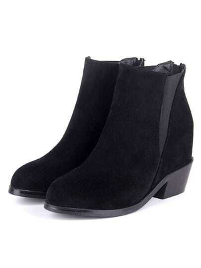 Black Chunky Heel Casual Boots