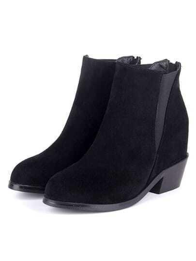 Black Chunky Heel Casual Boots