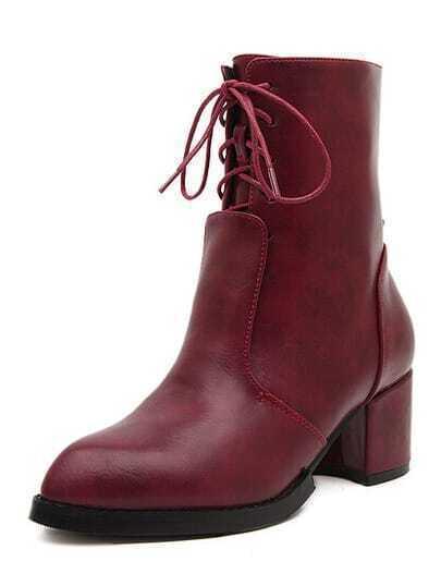 Wine Red Chunky Heel PU Boots