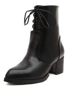 bottines en PU à talon -Noir