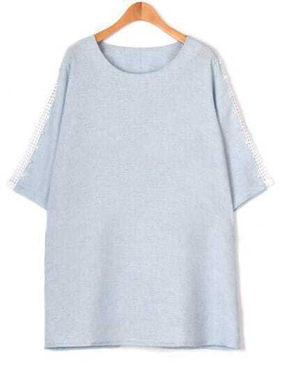 Sky Blue Contrast Lace Plus Dress